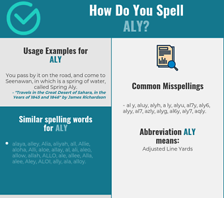 Correct spelling for Aly