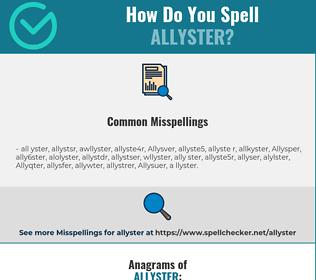 Correct spelling for Allyster