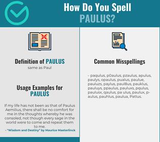 Correct spelling for Paulus