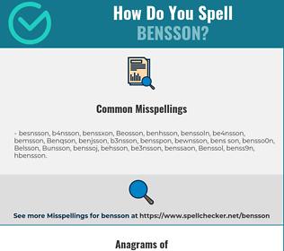 Correct spelling for Bensson