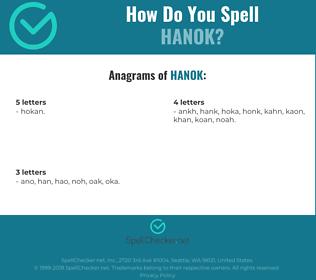 Correct spelling for Hanok