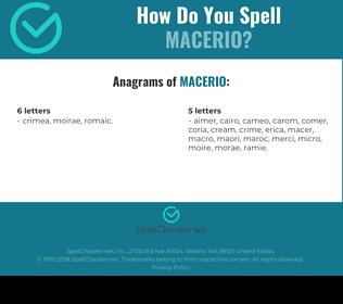 Correct spelling for Macerio