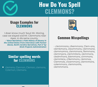Correct spelling for Clemmons