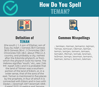Correct spelling for Teman