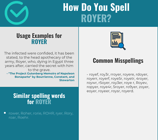 Correct spelling for Royer