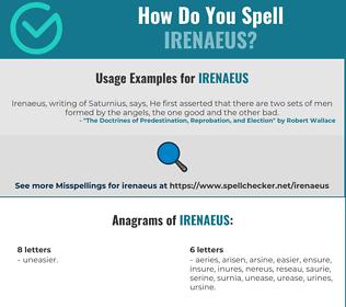 Correct spelling for Irenaeus
