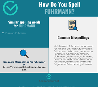 Correct spelling for Fuhrmann