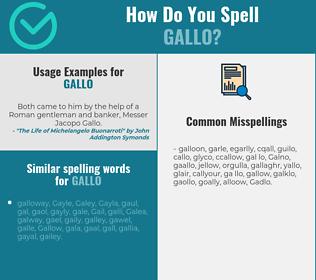 Correct spelling for Gallo