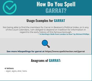 Correct spelling for Garrat