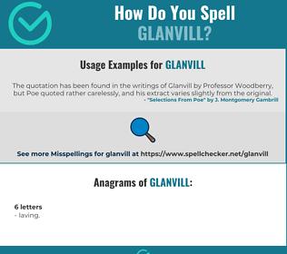 Correct spelling for Glanvill