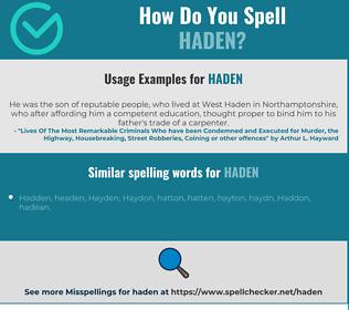 Correct spelling for Haden