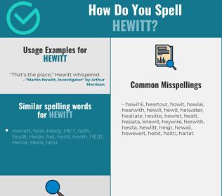 Correct spelling for Hewitt