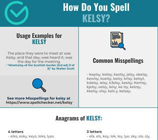 Correct spelling for Kelsy