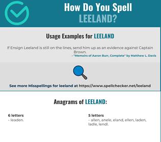 Correct spelling for Leeland