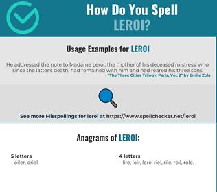 Correct spelling for Leroi