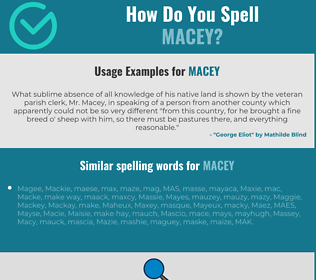 Correct spelling for Macey