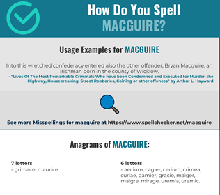 Correct spelling for MacGuire