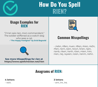 Correct spelling for Rien