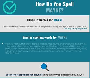 Correct spelling for Mayne