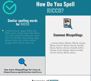 Correct spelling for Ricco