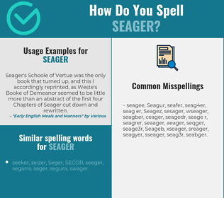 Correct spelling for Seager