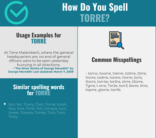 Correct spelling for Torre