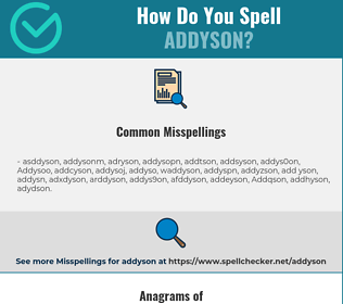 Correct spelling for Addyson