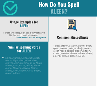 Correct spelling for Aleen