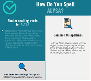 Correct spelling for Alysa