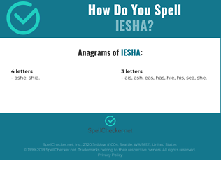 Correct spelling for Iesha