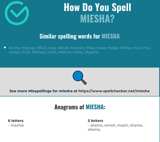 Correct spelling for Miesha