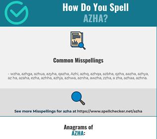 Correct spelling for Azha