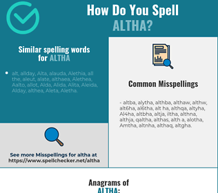 Correct spelling for Altha