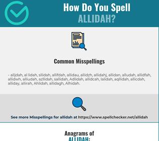 Correct spelling for Allidah