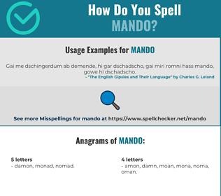 Correct spelling for Mando