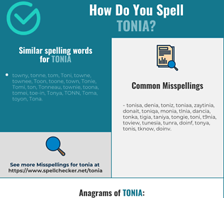 Correct spelling for Tonia
