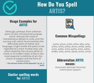 Correct spelling for Artis