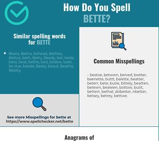 Correct spelling for Bette