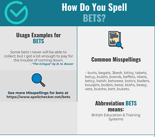 Correct spelling for Bets