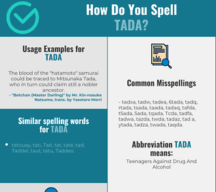 Correct spelling for Tada