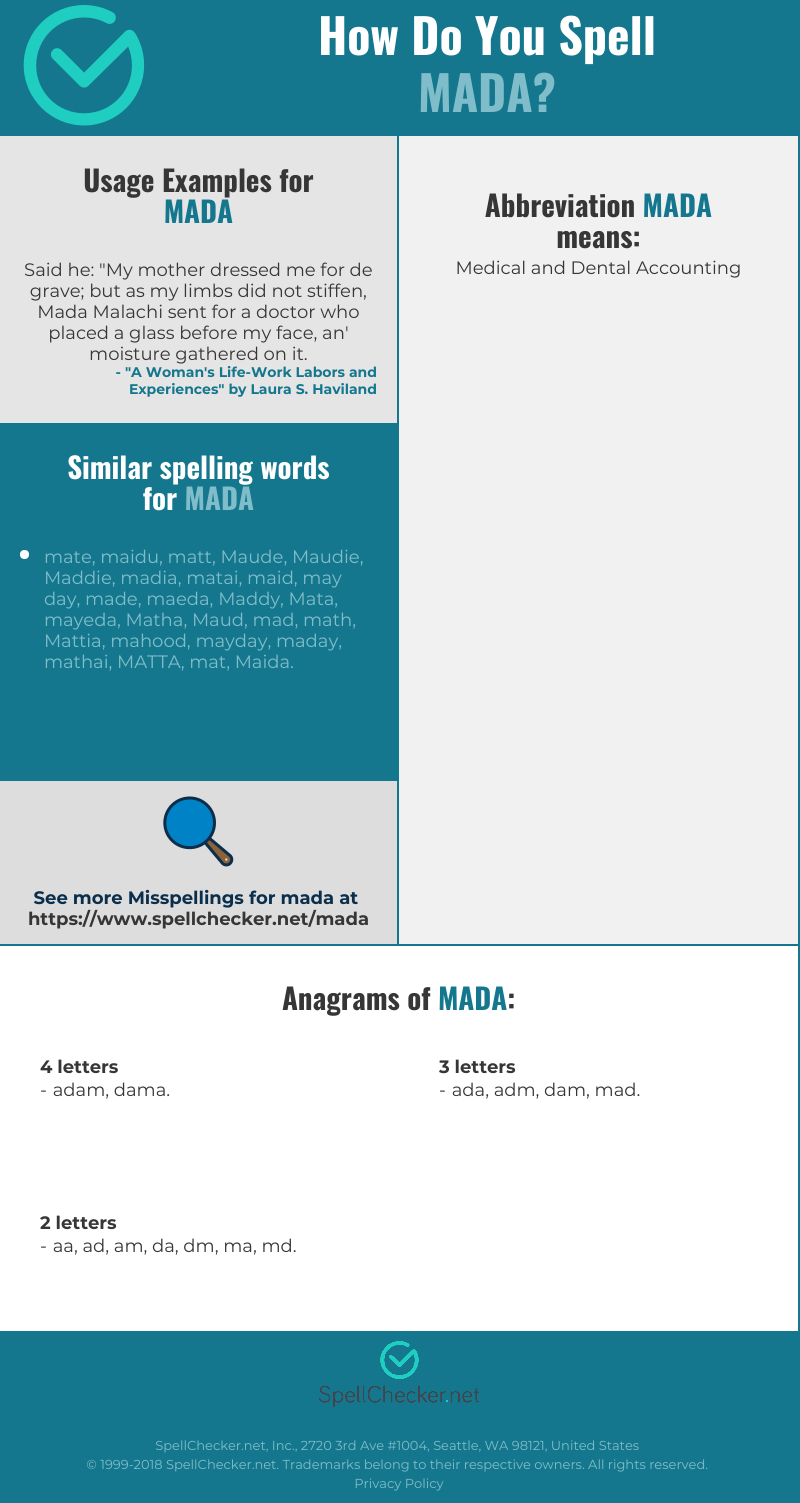 Correct Spelling For Mada Infographic Spellchecker Net Pronounce mada [ 2 syll. correct spelling for mada infographic