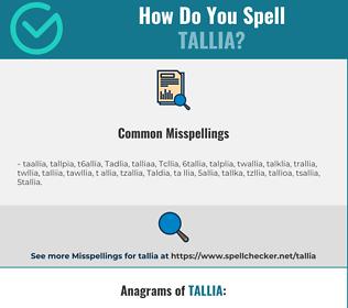 Correct spelling for Tallia
