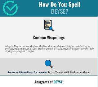 Correct spelling for Deyse