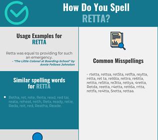 Correct spelling for Retta