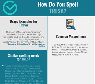 Correct spelling for Tresa