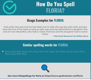 Correct spelling for Floria