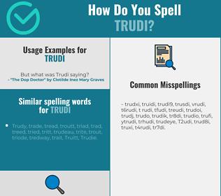 Correct spelling for Trudi