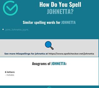 Correct spelling for Johnetta