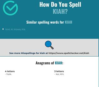 Correct spelling for Kiah