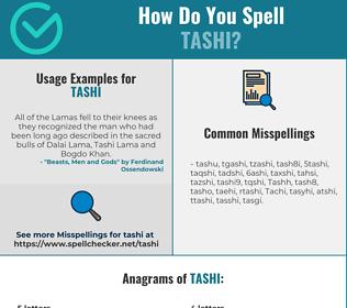 Correct spelling for Tashi